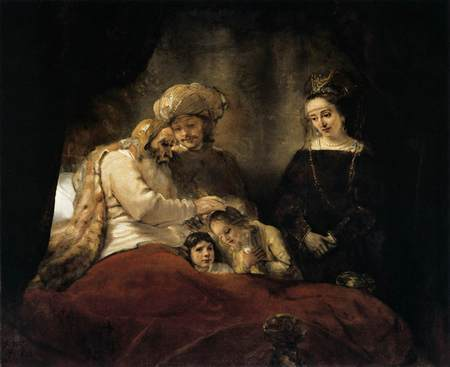 Rembrandt shows Jacob on his deathbed in Egypt, blessing the sons of Joseph. God was faithful to His promise. Joseph closed his father's eyes.